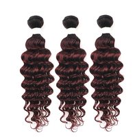 Brazilian Deep Wave Human Hair Bundles KEMY HAIR T1B/99J Burgundy Ombre Red Color Hair Weaving Non remy 3/4 Bundles