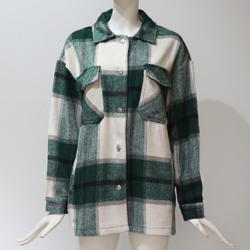 2020 Spring Summer New Shirt Blouse Check Long Sleeved Multi Pocket Shirt Jacket Female Casual Loose Elegant Top  Women Clothes