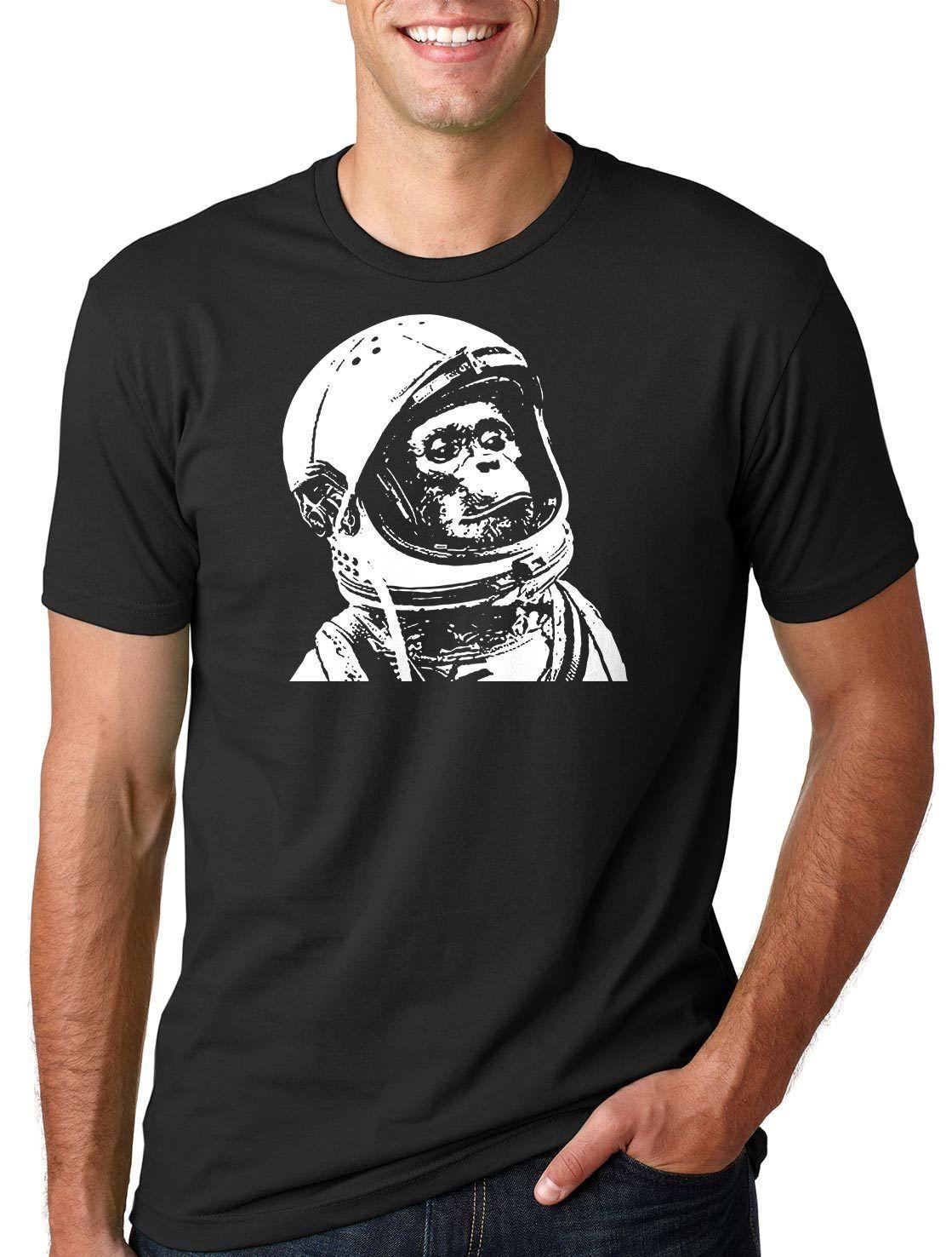Geek Funny Astronaut Chimp Monkey Tee Shirt Space Monkey Chimpanzee T-shirt   Cartoon T Shirt Men Unisex New Fashion Tshirt