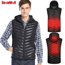 SNOWWOLF мужской открытый USB тепловой жилет куртка с отстегивающимся капюшоном зимняя углеродное волокно электрическая Термоодежда жилет
