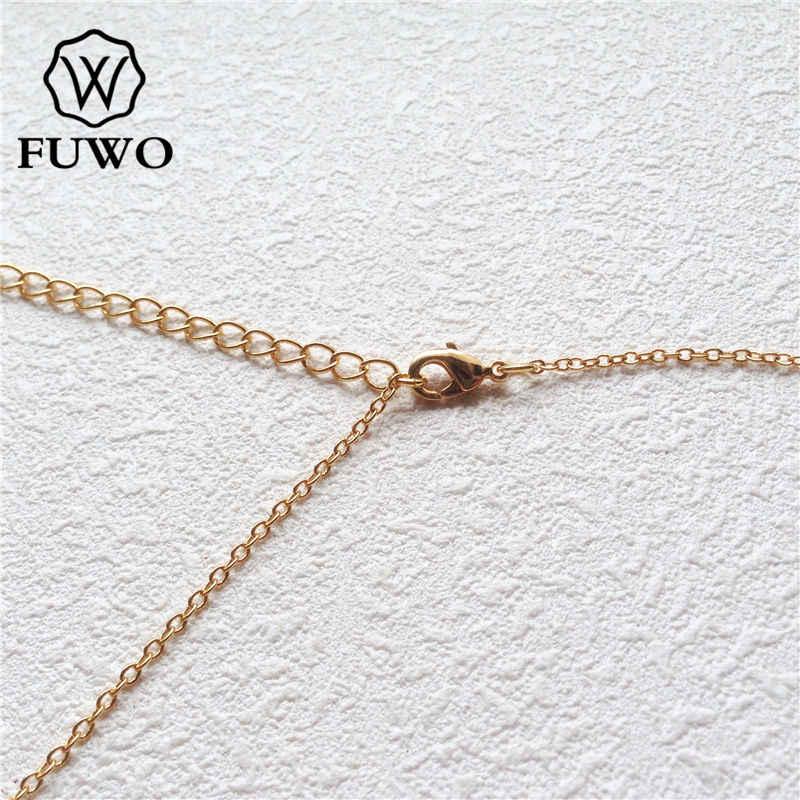 FUWO ナチュラルの Geode 瑪瑙ネックレスとゴールドファッション不規則なトリミング形状 Druzy クォーツ女性ギフト NC261
