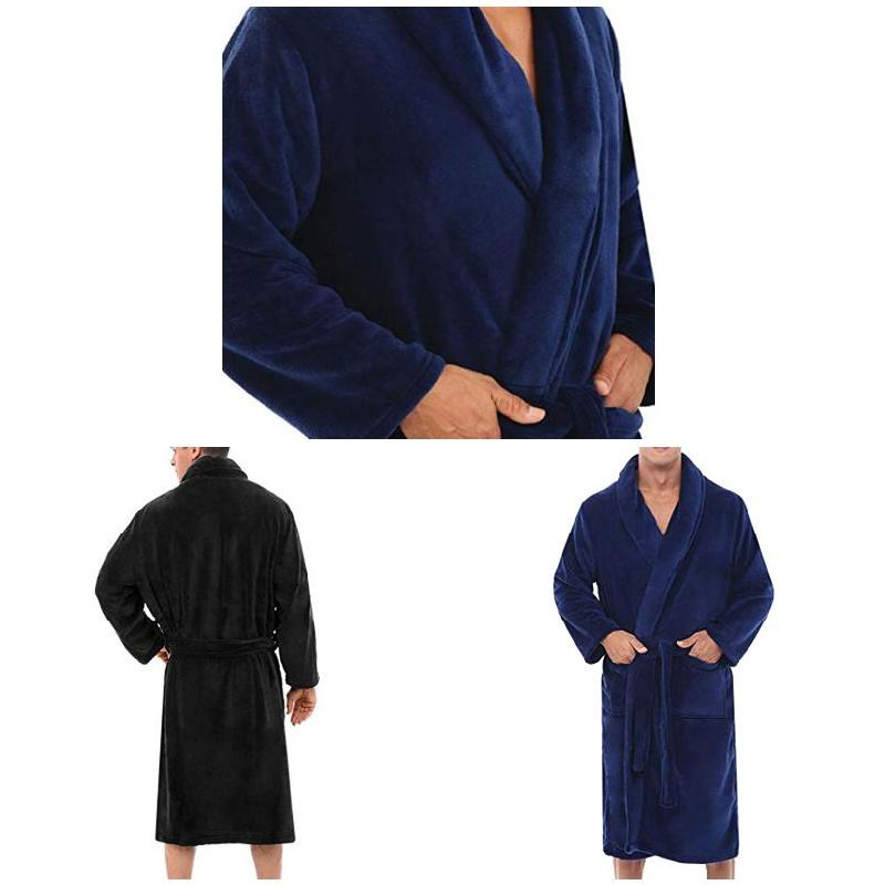 Hot Sale 2019 Mens Winter Warm Plus Plush Thickening Bathrobe Home Shower Solid Color Robes Night Gown Male Fashion Homewear