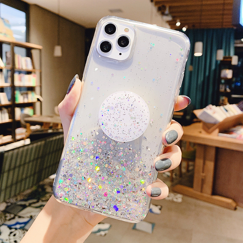 Soft Silicon Thin Case For iPhone 11 Pro Cases For iPhone 12 XR X 7 8 Plus XS Max SE 2020 6 6s Stand Holder Cover Bling Glitter