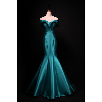 Elegant Hunter Evening Dress Mermaid Prom Gowns High Quality Satin Off the Shoulder Zipper Back