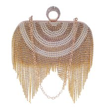2020 Luxury Glitter-Tassel Bag Crystal Pearl White Evening Clutch Bag Lady Elegant Handbag Wedding Party Purse For Bride Wallet(China)