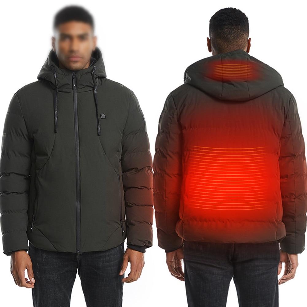 Men Waterproof Long Sleeve Heating Soft Zipper Hooded Skiing Wadded Jacket Winter Outdoor USB Powered Washable Warm