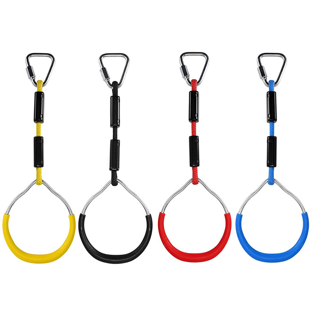 Heavy Duty Children Trapeze Bar Pull Up Gym Rings Colorful Backyard Outdoor Gymnastic Ring Ninja Obstacle Course Kit