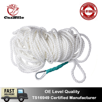 """CarBole 1/2""""x100'   1.2CM x  30 M Twisted Three Strand Nylon Anchor Rope Boat with Thimble Marine Boat Rope Line Boat Accessory"""