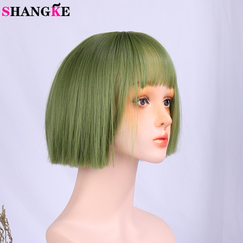 houyan sbaseball hat straight hair heat resistant fiber wig synthetic short heat resistant fiber cut short wig SHANGKE Short Bob Wig Synthetic Straight Hair Green Cosplay Wig For Women Heat Resistant Fiber Daily False Hair