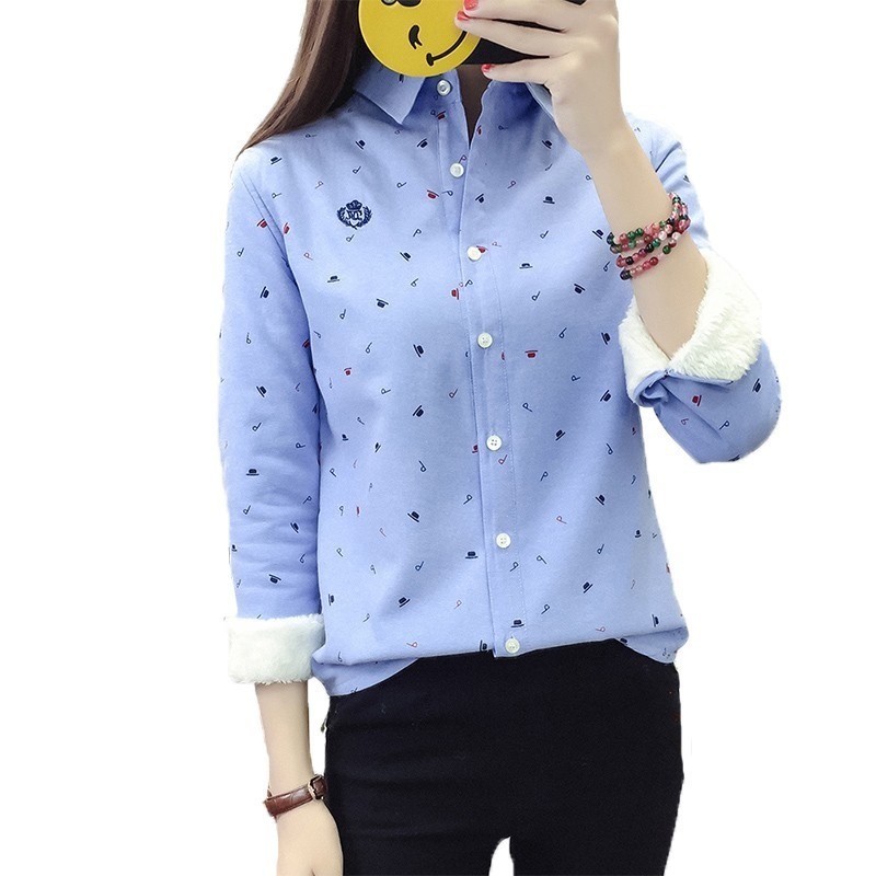 2019 Korean Autumn Spring Thick Warm Women Tops And   Blouse   Female Print Casual Long Sleeves Loose Plus Size   Shirt   Woman QH075