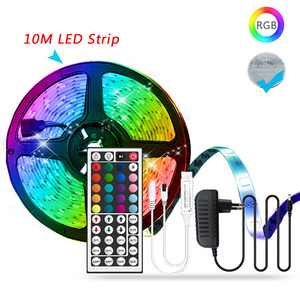 5M 10M RGB Led Strip Light 5050 SMD 2835 DC12V 15M 20M Non-waterproof Led Tape Flexible Lighting Ribbon with Power Adapter