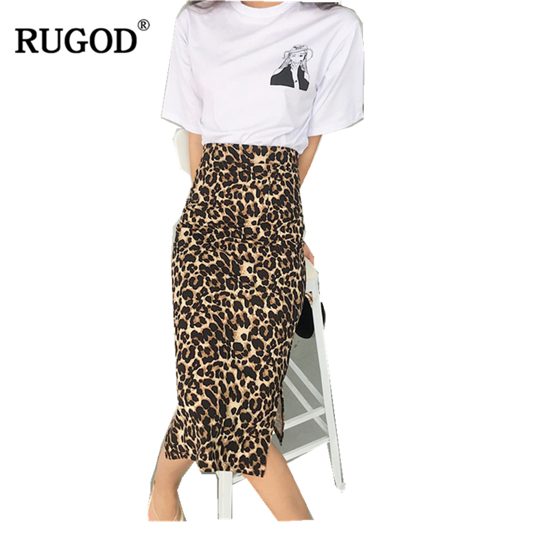 RUGOD 2019 New High Street Multi-color Leopard Sexy Women Long Skirt Saia Slim Fit Straight Fashion Speacial Faldas Plus Size