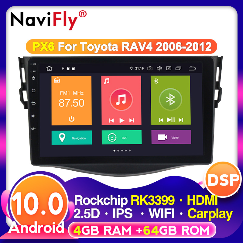 2din Android 10.0 Car DVD VIDEO Player for <font><b>Toyota</b></font> <font><b>RAV4</b></font> Rav 4 2007 2008 2009 <font><b>2010</b></font> 2011 Car Radio GPS Navigation Wifi 4G Player image