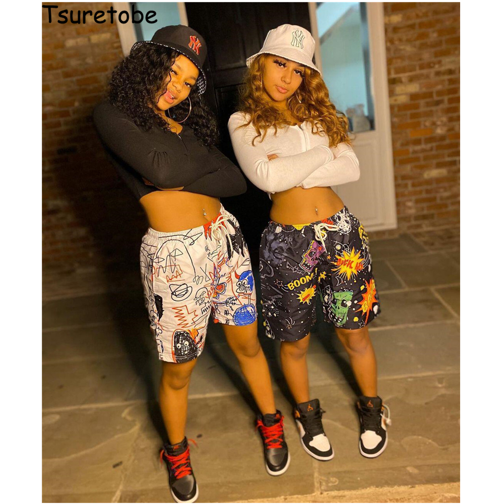 Tsuretobe streetwear 2 peça conjunto feminino zíper topo de colheita hip hop shorts de cintura alta graffiti agasalho feminino clube roupas para mulher