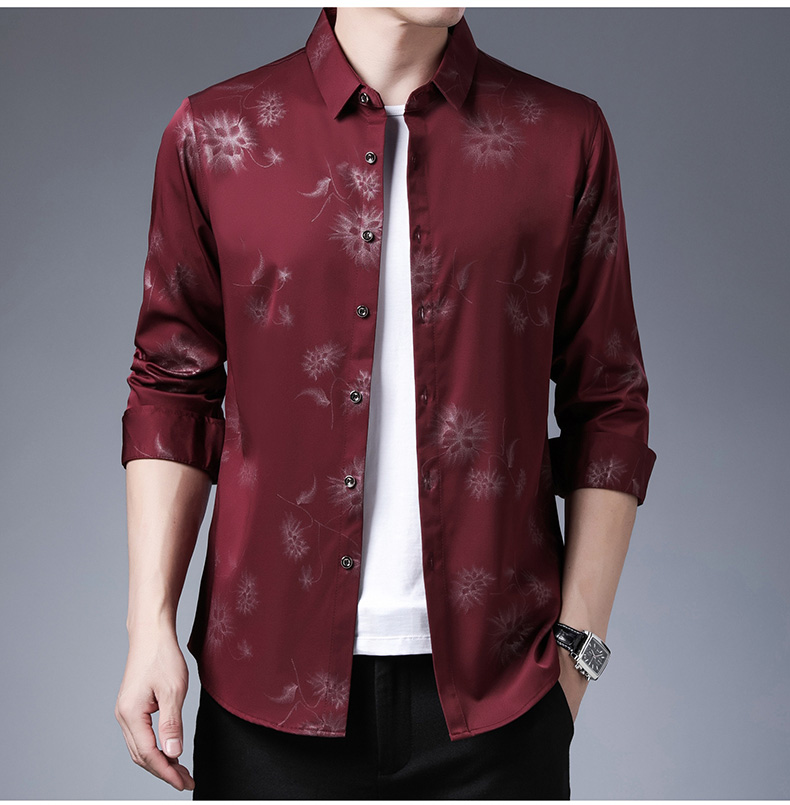 Heebeec9b88004499a84eb3909f9da41bT 2020 Brand Long Sleeve Men Social Shirt Streetwear Casual Dandelion Shirts Dress Mens Slim Regular Fit Clothes Fashions 80503
