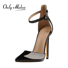 Onlymaker Women Pointed Toe Thin High Heel Ankle Strap Black Pumps For Evening Party Pumps Shoes handmade christmas green emerald suede sheet leather heel greenery wedding shoes with knot open toe ankle strap d orsay pumps