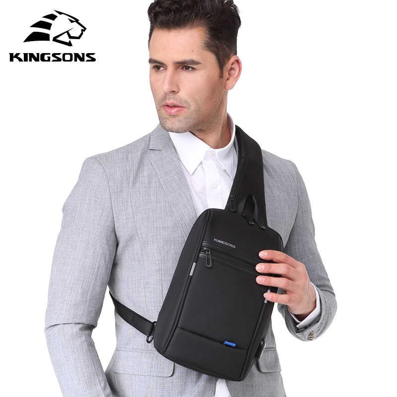 Kingsons Pria Tas Dada Baru Anti-Thief Tas Selempang Anti Air Pria Bahu Tas 9.7 Inci iPad Tas Fashion