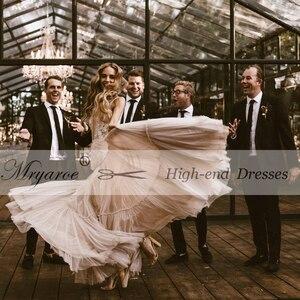 Image 5 - Mryarce Unique Wedding Dress Sleeveless V Neck Boho Hippie Style Whimsical Ruched Skirt Tulle Bridal Gowns