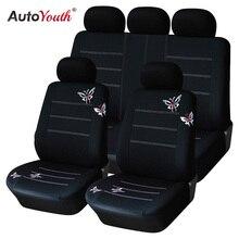 AUTOYOUTH kelebek işlemeli araba klozet kapağı evrensel Fit çoğu koltuk iç aksesuarları siyah klozet kapağı s