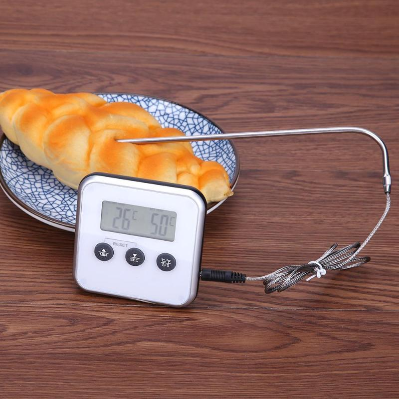 Electronic Thermometer Timer Food Meat Temperature Meter Gauge with Probe Digital Thermometer Food Meat Oven Temperature Meter