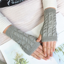 Fashion Hot Warm Knitted Gloves Women Winter Casual Fingerless Gloves For Outdoor Weave Short Arm Sleeve Solid Color Soft Gloves