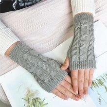 Gants tricotés chauds pour femmes, sans doigts, pour l'extérieur, tissage à manches courtes, couleur unie, doux, tendance, hiver