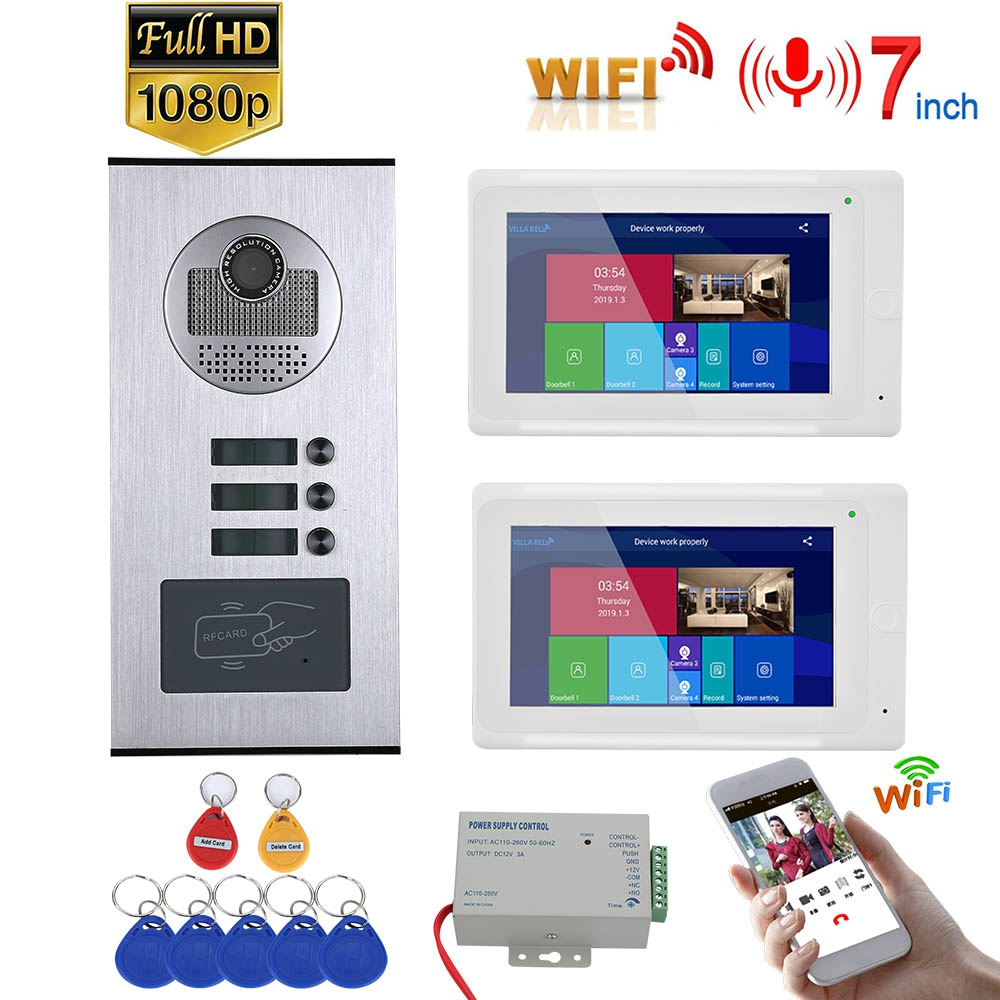 7inch Record Wired Wifi Video Intercom 2 Apartments With 2 Family RFID Video Doorphone System IR-CUT HD 1080P Doorbell Camera