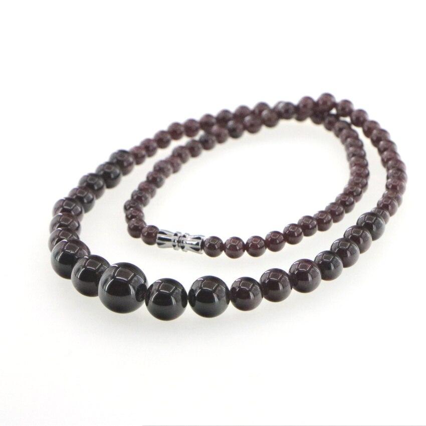 "New Brazil Natural 6-12mm Garnet Round Gemstone Beads Necklace 18/"" AAA"