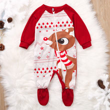 Newborn Infant Christmas Romper Clothes Baby Girl Boy Xmas Floral Print Deer Romper O-Neck Zipper Jumpsuit Outfit Costume kleren(China)