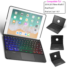 Aluminum Alloy Case for iPad 9.7 2018 2017/ iPad Pro 9.7/ iPad Air 1 2 English Keyboard Case 7 Color Backlit Tablet Keyboard keyboard case for ipad 9 7 2017 2018 air 2 pro 9 7 cover for ipad mini 4 5 7 9 shell for ipad air 3 2019 pro 10 5 case keyboard