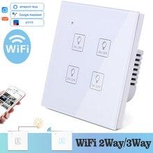 واي فاي ضوء اللمس أيقونة الجدار التبديل الزجاج الأبيض الأزرق LED العالمي الهاتف المنزل الذكي التحكم 4 عصابة 2 طريقة التتابع اليكسا جوجل المنزل