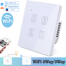 WIFI Touch Light Icon Wall Switch White Glass Blue LED Universal Smart Home Phone Control 4 Gang 2 Way relay Alexa Google Home
