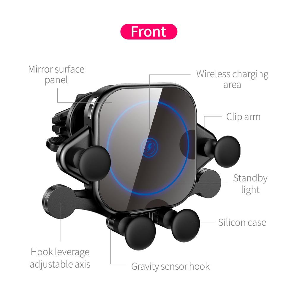 Image 3 - 15W QI Car Wireless Charger induction usb mount Automatic  Clamping QC3.0 Fast Wirless Charging For iphone 11 pro Samsung SIKAICar  Chargers