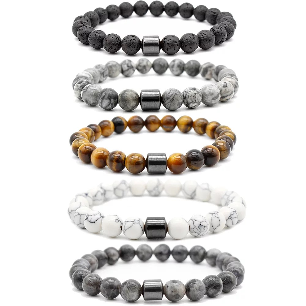 Hot Selling Promotional Natural Stone Bead Bracelet Magnet 8mm Charm Beads Stretch Fashion Lava Bead Bracelet For Men