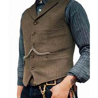 Classic Mens Herringbone Slim Fit Dress Suits Waistcoat Wedding Tuxedo Vests For Banquet Dinner Leisure Outerwear