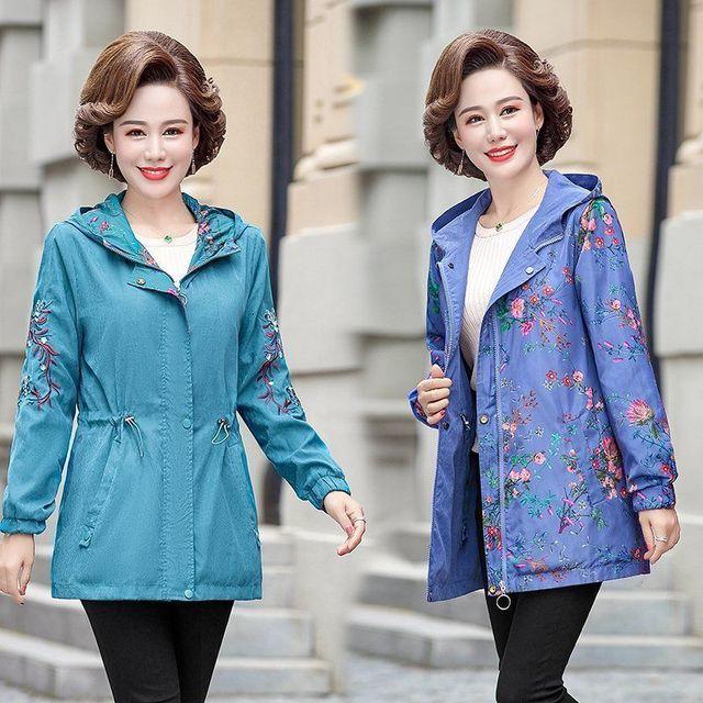 2020 Women Jacket Two Side Wear Female Jacket New Autumn Emboridery Coat Plus Size Hooded Windbreak Zipper Jacket Coats Pocket 2