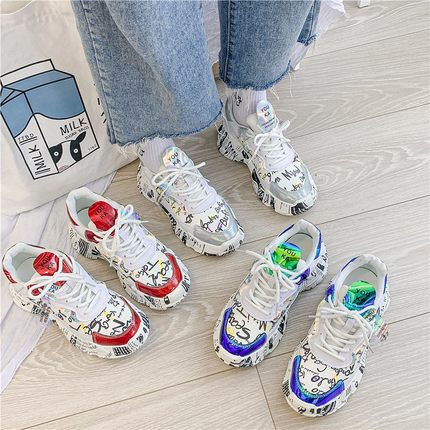 Trendy Women Sneakers Ladies Platform Shoes Chunky Dad Sneakers Chaussures Femme Trainers Footwear 2019 Autumn Wedges Shoes