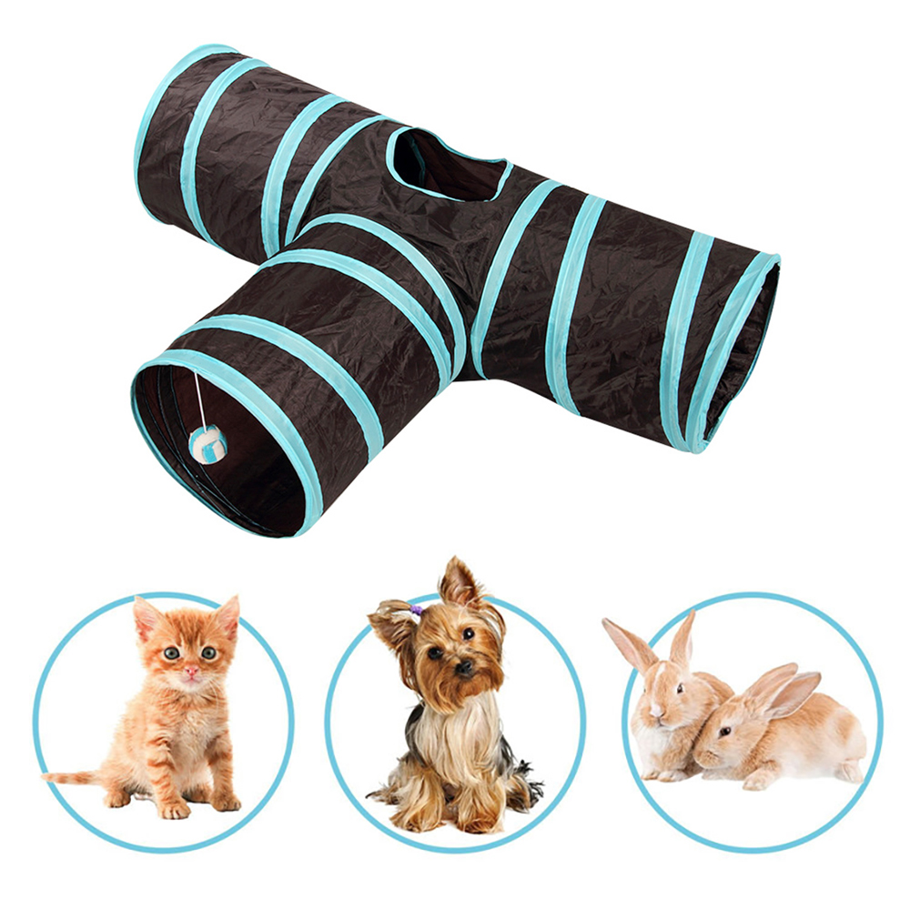1pc Cat Toys Pet Collapsible Tunnel Toy Y Shape Collapsible Cat Cube Kitten Indoor Outdoor Toys Pet Supplies Foldable Pet Toy image