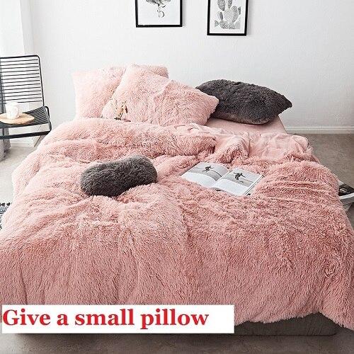 ピンク白生地の冬厚い 20 純粋な色の寝具セットミンクベルベット布団カバーシーツベッドリネン枕 4/6 個  グループ上の ホーム&ガーデン からの 寝具セット の中 1