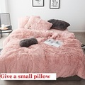 Tela de lana Blanca Rosa invierno grueso 20 juego de cama de Color puro juego de edredón de terciopelo de visón funda de cama ropa de cama fundas de almohada 4/6 piezas