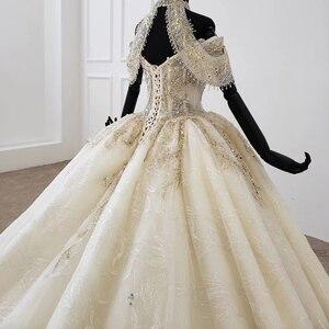 Image 5 - HTL1209 חתונה שמלה בתוספת גודל הלטר applique קריסטל דפוס תחרה עד בחזרה יוקרה חתונה שמלת 2020 תחרה свадебные платья חדש