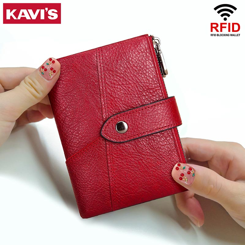 KAVIS Rfid en cuir véritable femmes portefeuille femme pièce de monnaie Purs Portomonee sac dargent petit porte-cartes couleur rouge mode pour les filles