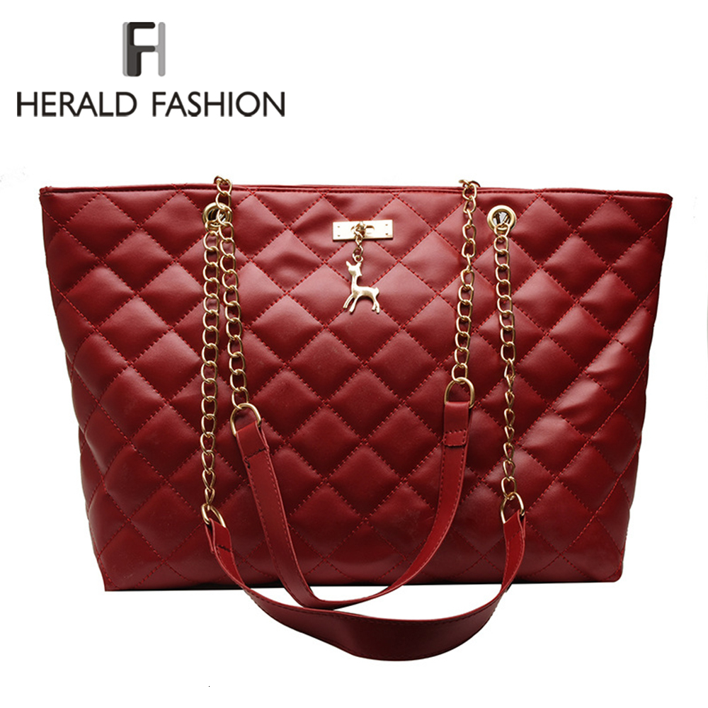 HERALD FASHION Women Plaid Shoulder Bag Chain High Capacity Shopping Bag Classic Female Tote Handbag Office Lady Travel Bag 2019
