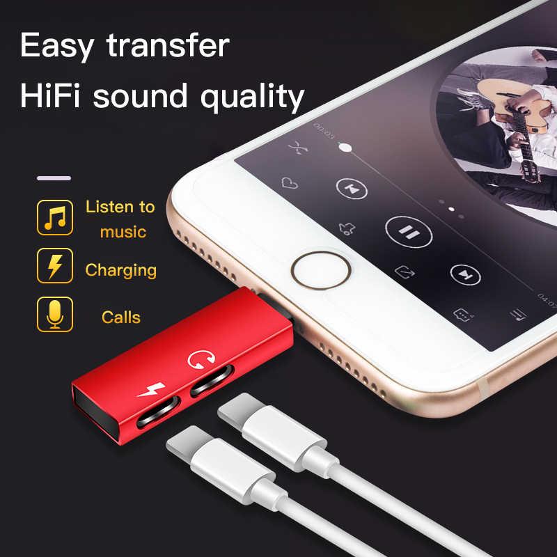 ! ACCEZZ 2 in 1 Opladen Call Adapter Voor iphone X 8 7 Plus XS MAX XR IOS 11 12 Dual verlichting Jack naar Oortelefoon Ondersteuning Microfoon