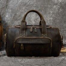 MAHEU Featured Crazy Horse Men Leather Duffle BagTravel Bag Dual Use Vintage Weekend Bag Cowhide Weekender Bag Man Totes Handbag