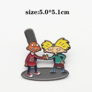 Эй, Арнольд эмаль булавки забавная анимация металлическая брошка мультфильм рюкзак шляпа сумка воротник нагрудные значки Мужчины Женщины ...