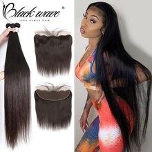 28 30 32 34 Polegada pacotes de tecer cabelo brasileiro em linha reta com frontal feixes de cabelo humano com 13x4 fechamento raw virg extensão do cabelo