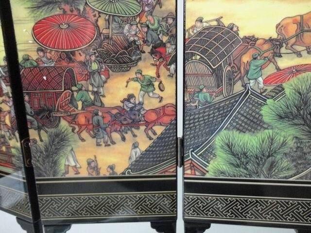 (Mini) requintado chinês clássico 6-pieces dobrável tela