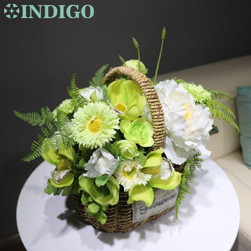 INDIGO conçu vert fleur panier fleur Arrangement cadeau Bouquet artificiel fleur fête événement livraison gratuite