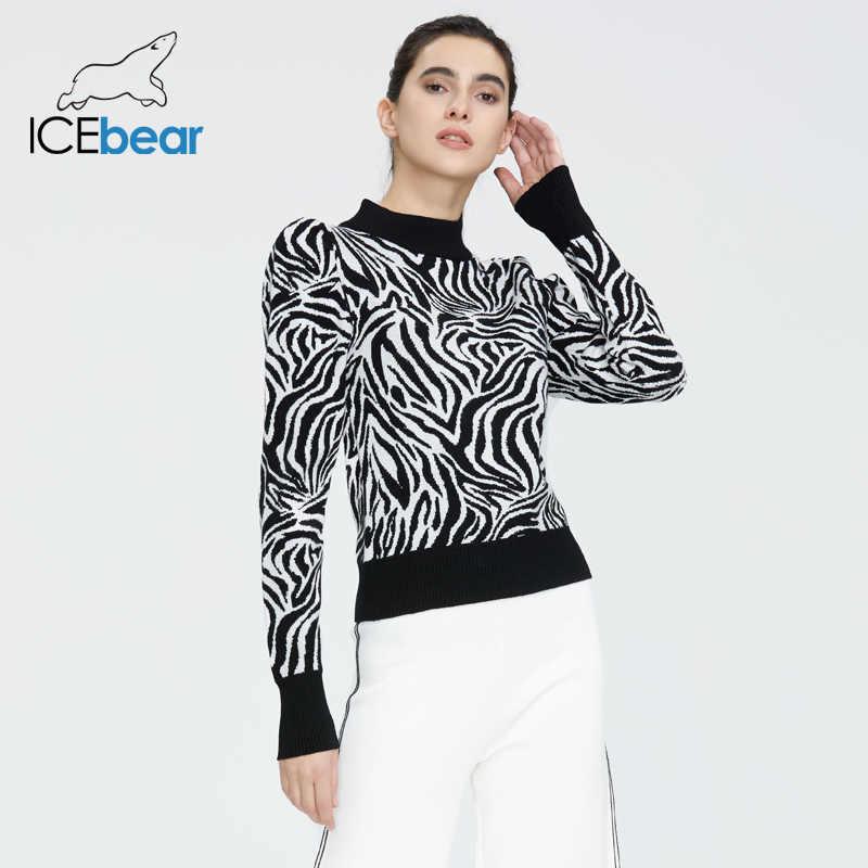 Icebear 2020 봄 새로운 undershirt 패션 유럽과 미국 스타일의 여성 얼룩말 패턴 슬림 스웨터 스웨터 셔츠 AW-003